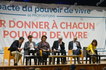 Nicolas Hulot and Laurent Berger at the cultural center of Villeurbanne to defend the 'Pact of the power to live'. Several organizations, associations, NGO's and trade unions have signed this pact launched a year ago