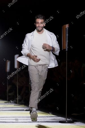 Spanish designer Pablo Erroz greets after presenting his creations during the third day of the 25th edition of 080 Barcelona Fashion in Barcelona, Catalonia, Spain, 05 February 2020. The 080 Barcelona Fashion runs from 03 to 06 February 2020.