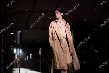 A model presents a creation by Pablo Erroz fashion house during the third day of the 25th edition of 080 Barcelona Fashion in Barcelona, Catalonia, Spain, 05 February 2020. The 080 Barcelona Fashion runs from 03 to 06 February 2020.