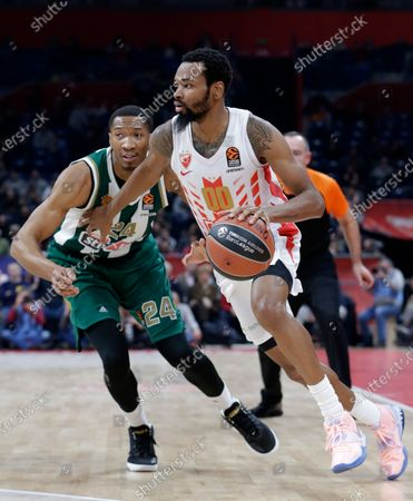Red Star's Kevin Punter (R) in action against Panthinaikos' Wesley Johnson (L) during the Euroleague basketball match between Red Star and Panathinaikos Athens in Belgrade, Serbia, 05 February 2020.