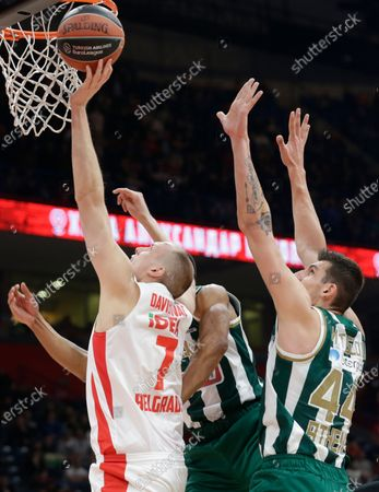 Stock Image of Red Star's Dejan Davidovac (L) in action against Panthinaikos' Wesley Johnson (C) and Panthinaikos' Konstantinos Mitoglou (R) during the Euroleague basketball match between Red Star and Panathinaikos Athens in Belgrade, Serbia, 05 February 2020.