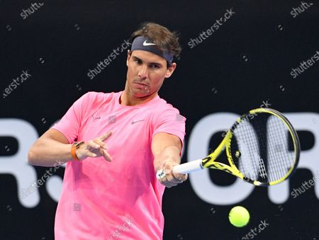 Rafa Nadal of Spain in action during an exhibition match against David Ferrer of Spain for the inauguration of the 'Rafa Nadal Academy' at Shaikh Jaber Al Abdullah Al Jaber Al Sabah International Tennis Complex in Kuwait City, Kuwait, 05 February 2020.