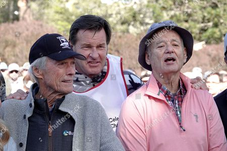 Clint Eastwood, Nick Faldo and Bill Murray prior to the 3M Celebrity Challenge