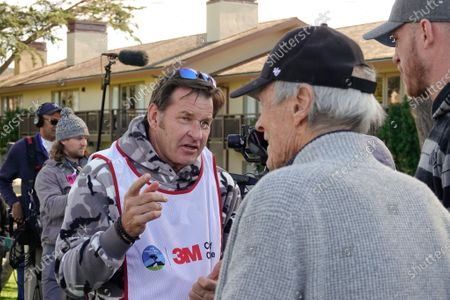 Sir Nick Faldo chats with Clint Eastwood prior to the 3M Celebrity Challenge