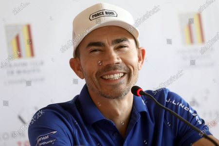 Golf player Camilo Villegas speaks during a press conference in Bogota, Colombia, 05 February 2020. Baldwin and Villegas are in the Colombian capital to participate in the 11th Bogota's Country Club Championship, third stop of the 2020 Korn Ferry Tour of golf that will deliver 700 thousand dollars in prizes.