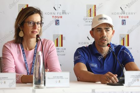 President of the Korn Ferry Tour Alex Baldwin (L) and golf player Camilo Villegas (R) speak during a press conference in Bogota, Colombia, 05 February 2020. Baldwin and Villegas are in the Colombian capital to participate in the 11th Bogota's Country Club Championship, third stop of the 2020 Korn Ferry Tour of golf that will deliver 700 thousand dollars in prizes.