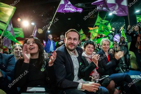 Ecologist Party, Europe Ecologie les Verts (EELV) candidate to the 2020 Paris mayoral elections David Belliard (C), flanked by party members Karima Delli (L), Dominique Bertinotti (2-R) and Delphine Batho (R) during his campaign rally at the Trabendo concert venue in Paris, France, 05 February 2020. The first round of the mayoral elections will be held 15 March, and the final round 22 March 2020.