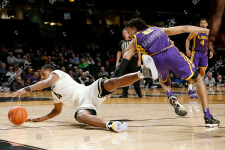 Jordan Wright, Trendon Watford. Vanderbilt's Jordan Wright (4) and LSU's Trendon Watford (2) chase down the ball in the first half of an NCAA college basketball game, in Nashville, Tenn