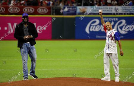 Puerto Rican singer Ozuna (R) and former Dominican baseball player David Ortiz attend a Caribbean Series 2020 game between Toros del Este of Dominican Republic and Cangrejeros de Santurce of Puerto Rico, at the Hiram Bithorn Stadium in San Juan, Puerto Rico, 05 February 2020.