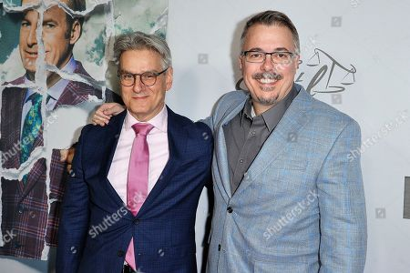 "Peter Gould, Vince Gilligan. Peter Gould, left, and Vince Gilligan attend the LA premiere of ""Better Call Saul,"" Season 5 at ArcLight Hollywood, in Los Angeles"