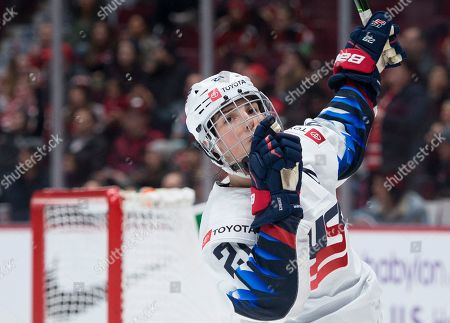 United States' Hilary Knight celebrates her goal against Canada during the third period of a Rivalry Series hockey game in Vancouver, British Columbia