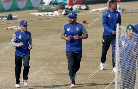 Mahmudullah. Bangladesh skipper Mominul Haque, left, and Tamim Iqbal, center, warm-up during a training session for first test match against the Pakistan at the Pindi Cricket Stadium, in Rawalpindi, Pakistan, . Pakistan and Bangladesh will play their first test cricket match on Feb. 7