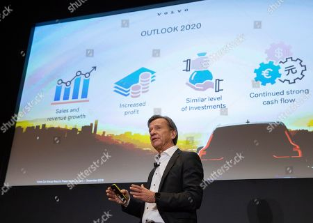 Hakan Samuelsson, President and CEO, Volvo Car Group speaks during a media conference on the Volvo 2019 Full Year Financial Results at the Volvo headquarters in Brussels