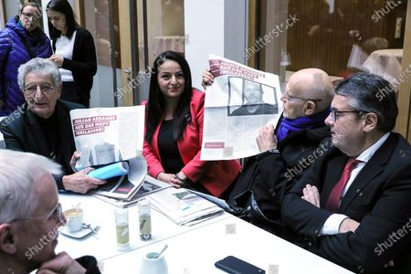 Stock Picture of German journalist Guenter Wallraff (2-R) shows a paper clipping next to the former leader of the Social Democratic Party (SPD), Sigmar Gabriel (R), the member of the Left Party in Bundestag, Sevim Dagdelen (2-L), and the former German Minister of Interior, Gerhart Baum (L), ahead of a press conference calling for the release of activist Julian Assange, in Berlin, Germany, 06 February 2020. Politicians of various parties have started an initiative to demand the release of the Wikileaks founder from his extradition custody in the United Kingdom. The hearing about his delivery to the United States will take place this month.