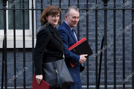 Nicky Morgan, Secretary of State for Digital, Culture and Sport, and Simon Hart, Secretary of State for Wales, leaves a Cabinet meeting at No.10 Downing Street.