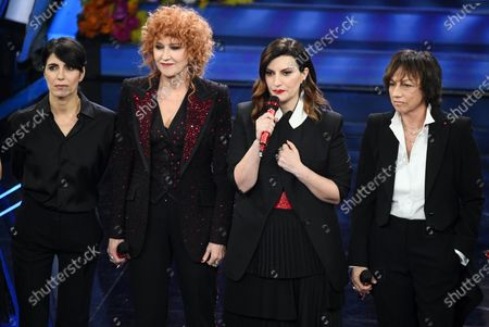 Italian singers Giorgia, Fiorella Mannoia, Laura Pausini and Gianna Nannini perform on stage at the Ariston theatre during the 70th Sanremo Italian Song Festival in Sanremo, Italy, 06 February 2020. The festival runs from 04 to 08 February.