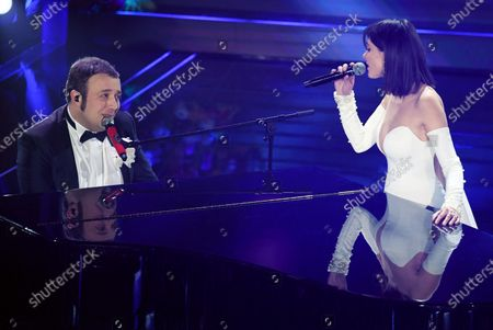 Raphael Gualazzi (L) and Simona Molinari (R) perform on stage at the Ariston theatre during the 70th Sanremo Italian Song Festival in Sanremo, Italy, 06 February 2020. The festival runs from 04 to 08 February.