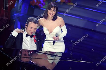 Stock Image of Raphael Gualazzi (L) and Simona Molinari (R) perform on stage at the Ariston theatre during the 70th Sanremo Italian Song Festival in Sanremo, Italy, 06 February 2020. The festival runs from 04 to 08 February.