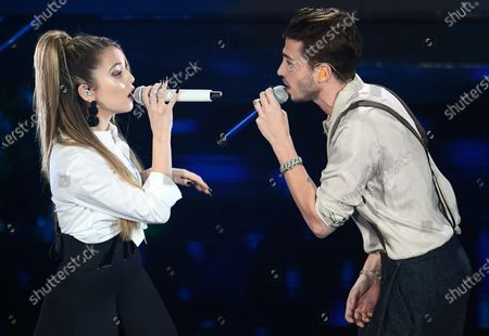 Italian singer Riki (R) and Spanish singer Ana Mena perform on stage at the Ariston theatre during the 70th Sanremo Italian Song Festival in Sanremo, Italy, 06 February 2020. The festival runs from 04 to 08 February.