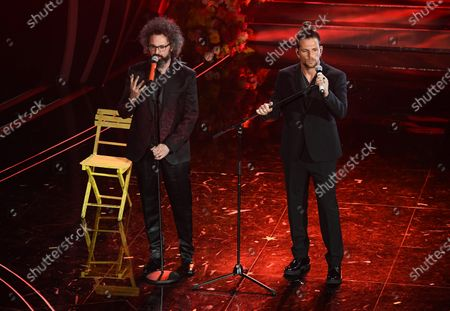 Enrico Nigiotti (R) and Simone Cristicchi (L) perform on stage at the Ariston theatre during the 70th Sanremo Italian Song Festival in Sanremo, Italy, 06 February 2020. The festival runs from 04 to 08 February.