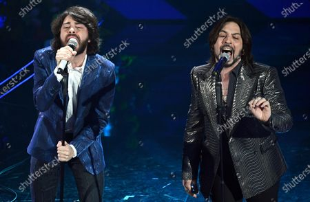 Matteo Mobrici (L),singer of the Italian band Canova and  Francesco Sarcina (R), singer of the Italian band Le Vibrazioni perform on stage at the Ariston theatre during the 70th Sanremo Italian Song Festival in Sanremo, Italy, 06 February 2020. The festival runs from 04 to 08 February.