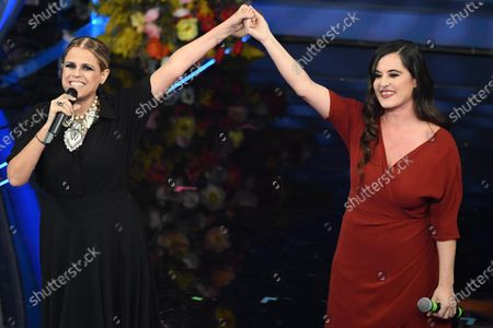 Italian singer Tosca (L) with Spanish singer Silvia Perez Cruz (R) perform on stage at the Ariston theatre during the 70th Sanremo Italian Song Festival in Sanremo, Italy, 06 February 2020. The festival runs from 04 to 08 February.