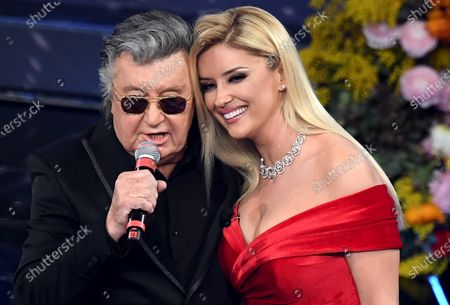 Albanian TV host, singer and producer Alketa Vejsiu (R) and Italian singer Bobby Solo (L) perform on stage at the Ariston theatre during the 70th Sanremo Italian Song Festival in Sanremo, Italy, 06 February 2020. The festival runs from 04 to 08 February.