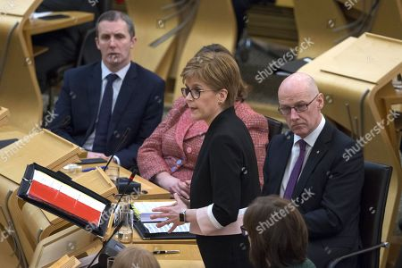 Scottish Parliament First Minister's Questions - Michael Matheson, Cabinet Secretary for Transport, Infrastructure and Connectivity, Nicola Sturgeon, First Minister of Scotland and Leader of the Scottish National Party (SNP), and John Swinney, Deputy First Minister and Cabinet Secretary for Education and Skills.