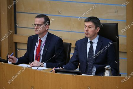 Stock Photo of Scottish Parliament First Minister's Questions - David McGill, Chief Executive of The Scottish Parliament, and Ken Macintosh, The Presiding Officer of The Scottish Parliament.