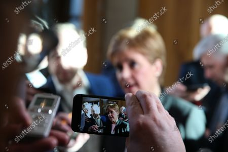 Scottish Parliament First Minister's Questions - Nicola Sturgeon, First Minister of Scotland and Leader of the Scottish National Party (SNP), addresses the media after FMQs to answer questions on Derek Mackay.