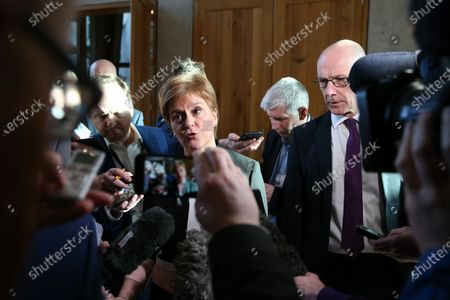 Scottish Parliament First Minister's Questions - Nicola Sturgeon, First Minister of Scotland and Leader of the Scottish National Party (SNP), accompanied by John Swinney, Deputy First Minister and Cabinet Secretary for Education and Skills, addresses the media after FMQs to answer questions on Derek Mackay.