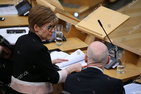 Scottish Parliament First Minister's Questions - Nicola Sturgeon, First Minister of Scotland and Leader of the Scottish National Party (SNP), and John Swinney, Deputy First Minister and Cabinet Secretary for Education and Skills.
