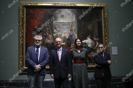 (L-R) Miguel Falomir, Director of the Prado Museum; Tomas Fernandez, Chief Financial Officer of American Express Europe; Christina Simmons, Executive Director of American Friends of the Prado Museum; and Javier Portus, Head of Conservation of Spanish Painting at Prado Museum, pose in front of the artwork 'Las Hilanderas' (The Spinners) by Spanish painter Diego Velazquez, during the launch of a new  museum installation project focused on the Velazquez' masterpiece at the Prado Museum in Madrid, Spain, 06 February 2020. The project is organized with the collaboration of American Friends of the Prado Museum.