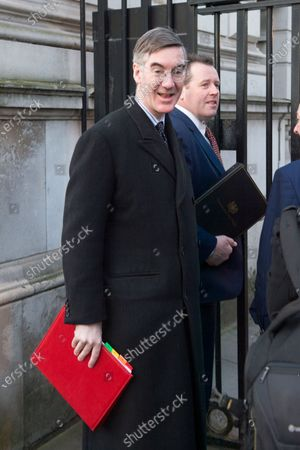 British Leader of the House of Commons, Lord President of the Council Jacob Rees-Mogg and British Minister Parliamentary Secretary to the Treasury (Chief Whip) Mark Spencer arrive at a cabinet meeting at 10 Downing Street