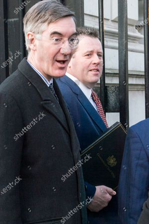 Stock Photo of British Leader of the House of Commons, Lord President of the Council Jacob Rees-Mogg and British Minister Parliamentary Secretary to the Treasury (Chief Whip) Mark Spencer arrive at a cabinet meeting at 10 Downing Street