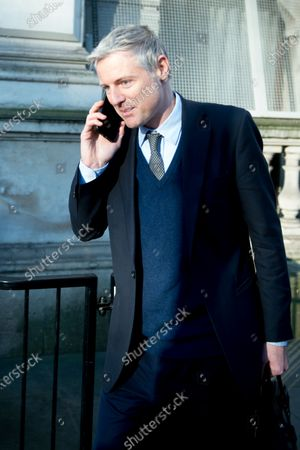 Zac Goldsmith, Minister of State for the Environment and International Development leaves a cabinet meeting at 10 Downing Street