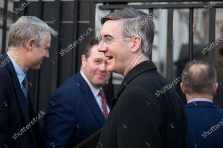 Zac Goldsmith, Minister of State for the Environment and International Development, British Leader of the House of Commons, Lord President of the Council Jacob Rees-Mogg and British Minister Parliamentary Secretary to the Treasury (Chief Whip) Mark Spencer and Simon Hart, Secretary of State for Wales arrive at a cabinet meeting at 10 Downing Street