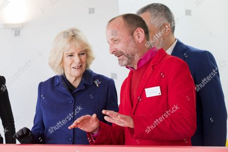 Stock Photo of Camilla Duchess of Cornwall and Architect Ab Rogers during a visit to Maggies at The Royal Marsden
