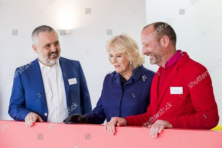 Architect Ernesto Bartolini, Camilla Duchess of Cornwall and Architect Ab Rogers during a visit to Maggies at The Royal Marsden on February 06, 2020 in Sutton, Greater London. The first Maggies Centre opened in Edinburgh in 1996 and there are now 26 centres across the UK and internationally, with more planned for the future. Camilla Duchess of Cornwall has been President of Maggie's since 2008 and has visited 11 centres across England, Wales and Scotland.