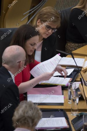 Scottish Budget 2020-21 - Kate Forbes, Minister for Public Finance and Digital Economy, after delivering the ministerial statement on the Scottish Budget after Derek Mackay resigned as Cabinet Secretary for Finance, Economy and Fair Work, with John Swinney, Deputy First Minister and Cabinet Secretary for Education and Skills, and Nicola Sturgeon, First Minister of Scotland and Leader of the Scottish National Party (SNP).