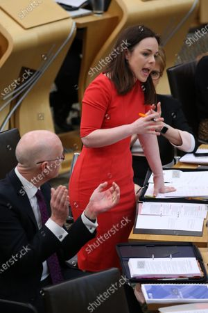Stock Picture of Scottish Budget 2020-21 - John Swinney, Deputy First Minister and Cabinet Secretary for Education and Skills, applauds Kate Forbes, Minister for Public Finance and Digital Economy, during her delivery of the ministerial statement on the Scottish Budget after Derek Mackay resigned as Cabinet Secretary for Finance, Economy and Fair Work.