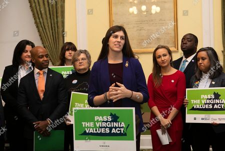 Delegate Danica Roem speaks about the Virginia Values Act at a press conference in the Jefferson Room of the Virginia State Capitol on in Richmond, Va