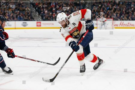 Florida Panthers' Aaron Ekblad plays against the Columbus Blue Jackets during an NHL hockey game, in Columbus, Ohio
