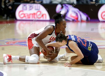 United States' Nneka Ogwumike (L) in action against Serbia's Ana Dabovic (R) during the Women's Olympic Qualifying Tournament game between USA and Serbia in Belgrade, Serbia, 06 February 2020.