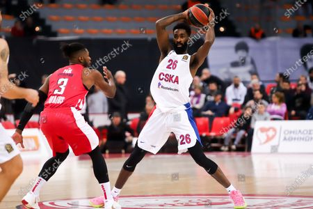 Brandon Paul of Olympiacos Piraeus in action against Howard Sant-Roos of CSKA during the Eurolague Basketball match between Olympiacos Piraeus and CSKA Moscow at the Peace and Friendship Stadium in Piraeus, Greece, 6 February 2020.