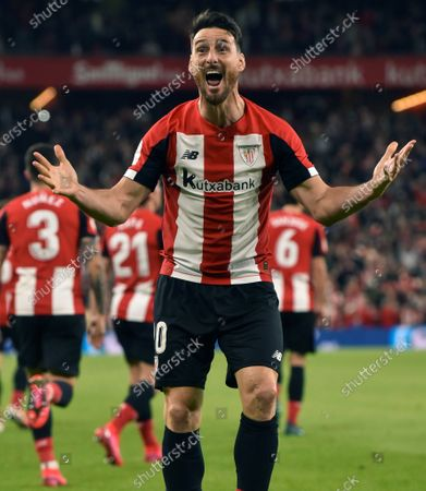 Stock Photo of Athletic Club's Aritz Aduriz celebrates after the Spanish King's Cup quarters final between Athletic Bilbao and FC Barcelona at San Mames stadium in Bilbao, northern Spain, 06 February 2020.