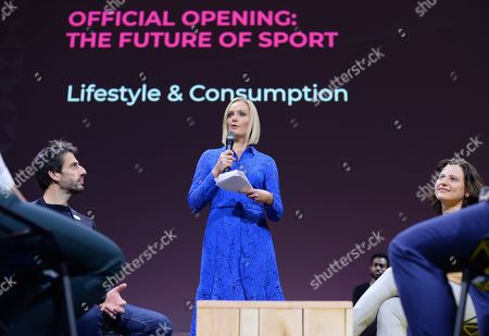Stock Image of Tony Estanguet, 3-time Olympic Champion and Paris 2024 Orgnanising Committee President, Amanda Davies, CNN and Roxana Maracineanu, French Sport Minister
