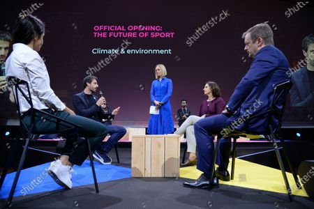 Nadia Nadim, PSG footballer and Unesco champion for the education of girls and women, Tony Estanguet, 3-time Olympic Champion and Paris 2024 Orgnanising Committee President, Roxana Maracineanu, French Sport Minister, Amanda Davies, CNN and Andrew Parsons, President International Paralympic Committee
