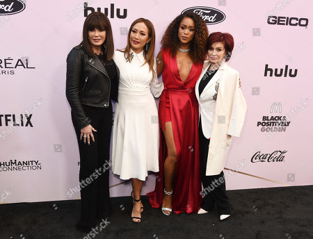 """Stock Image of Marie Osmond, Carrie Ann Inaba, Eve, Sharon Osbourne. From left, Marie Osmond, Carrie Ann Inaba, Eve and Sharon Osbourne of the television show """"The Talk"""" pose together at the 13th Annual ESSENCE Black Women in Hollywood Awards Luncheon, in Beverly Hills, Calif"""