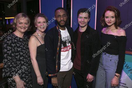 Sarah Woodward (Hannah), Lucy Black (Denise), Enyi Okoronkwo (Zef), Oliver Johnstone (Neil) and Rona Morison (Cora)
